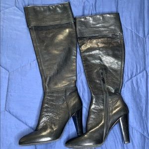 Nine West heeled tall black leather boots 7.5